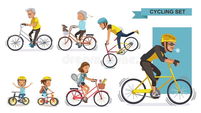 Cykliści ustawiający ilustracji