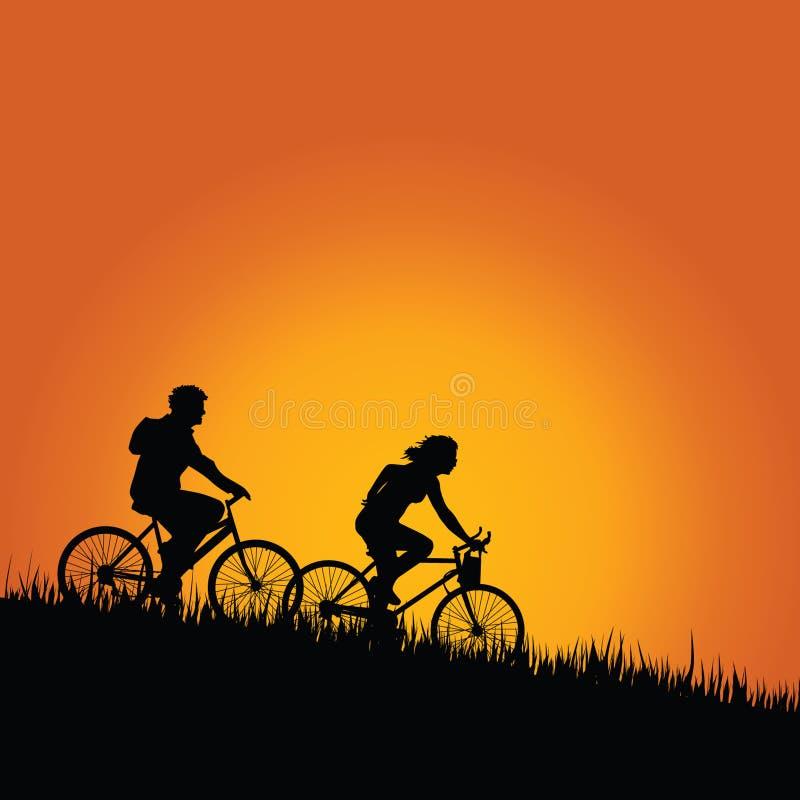 Cykliści w natura koloru wektorze royalty ilustracja