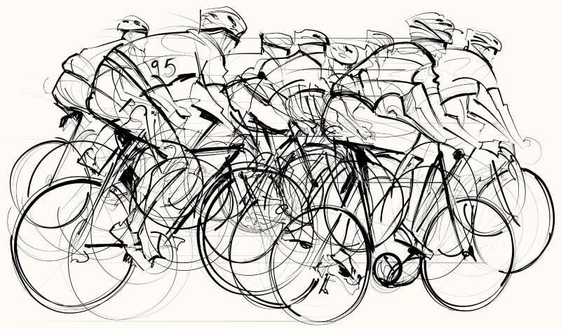 Cykliści w rywalizaci ilustracji