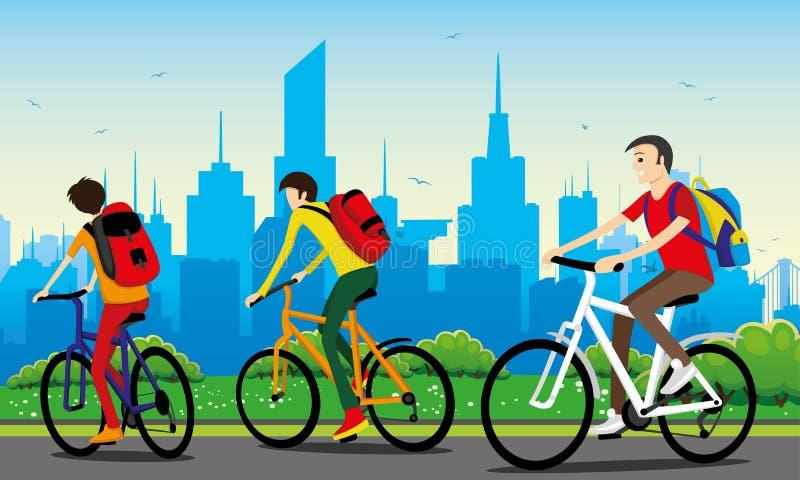Cykliści z plecakami royalty ilustracja