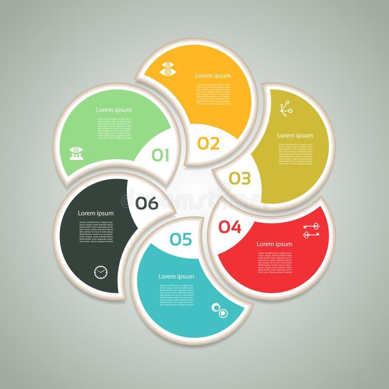 Cykliczny diagram z sześć ikonami i krokami royalty ilustracja