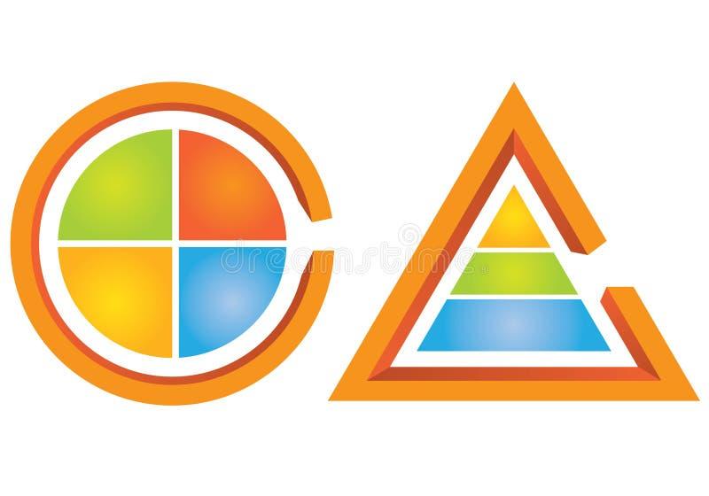 Cykliskt diagram och triangeldiagram stock illustrationer