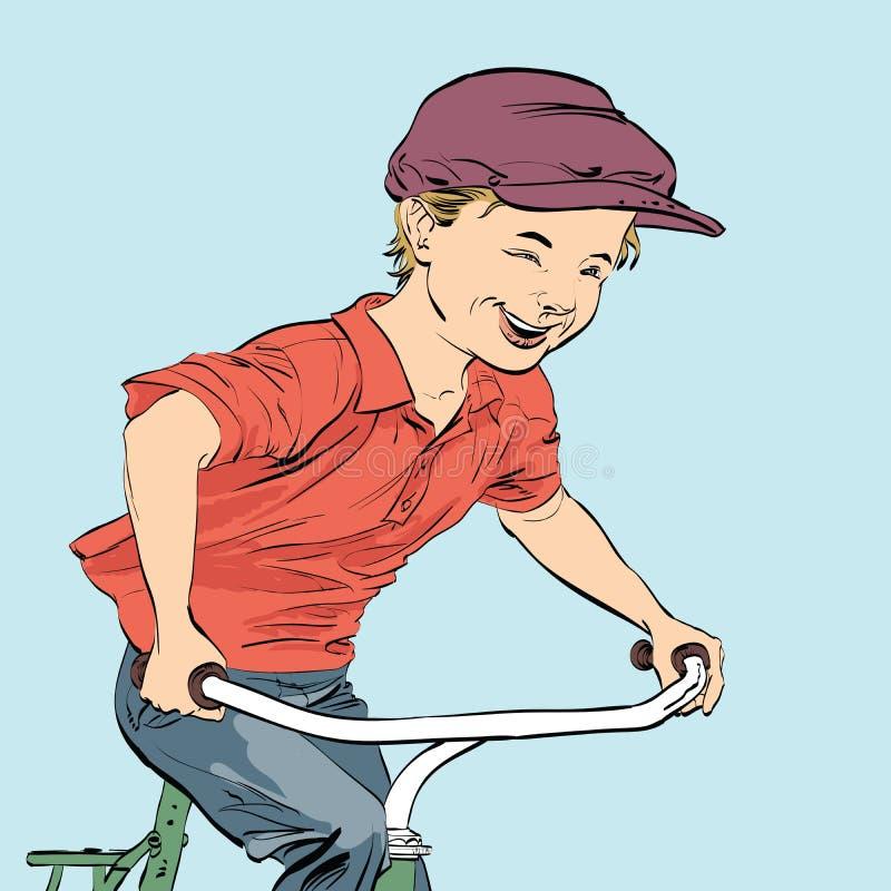 Cyklist för landspojke stock illustrationer