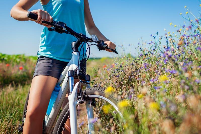 Cyklist för ung kvinna som rider en bergcykel i sommarfält Slut upp av styret fotografering för bildbyråer