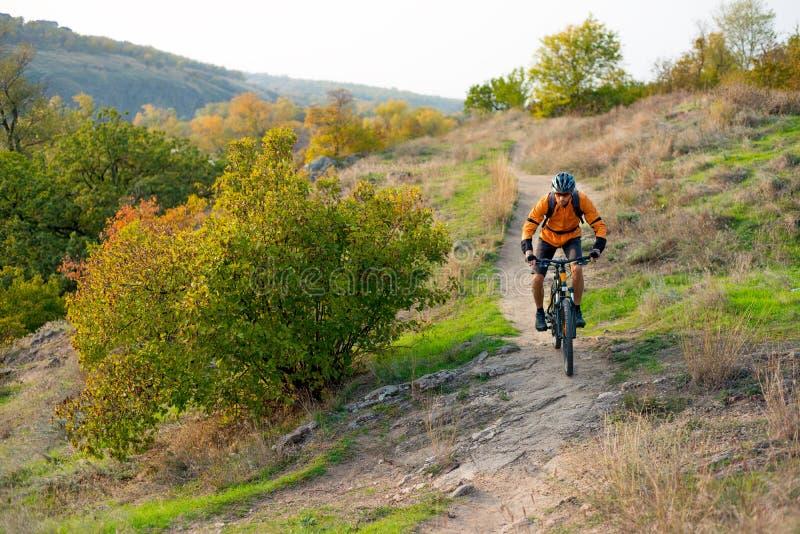 Cyklist i apelsin som rider mountainbiket på Autumn Rocky Trail Extrem sport och Enduro som cyklar begrepp royaltyfria bilder