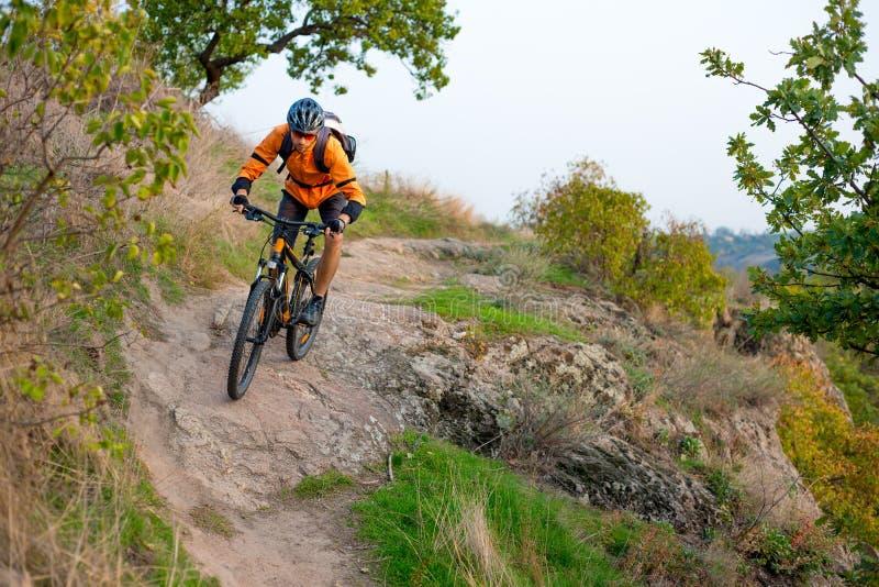 Cyklist i apelsin som rider mountainbiket på Autumn Rocky Trail Extrem sport och Enduro som cyklar begrepp royaltyfri foto