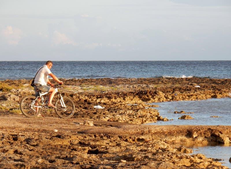 Cyklist på klippan royaltyfri bild