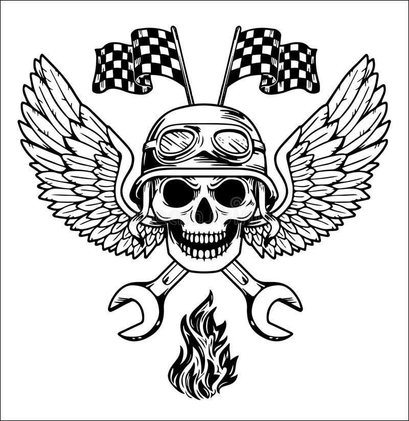 Cyklist Rider Freedom för motorcykel för garage för reparation för beståndsdelar för vektorcyklistuppsättning hand dragen royaltyfri illustrationer