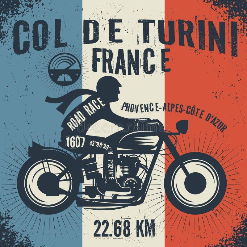 Cyklist som kör en motorcykel Affischmotorcykelklubba stock illustrationer