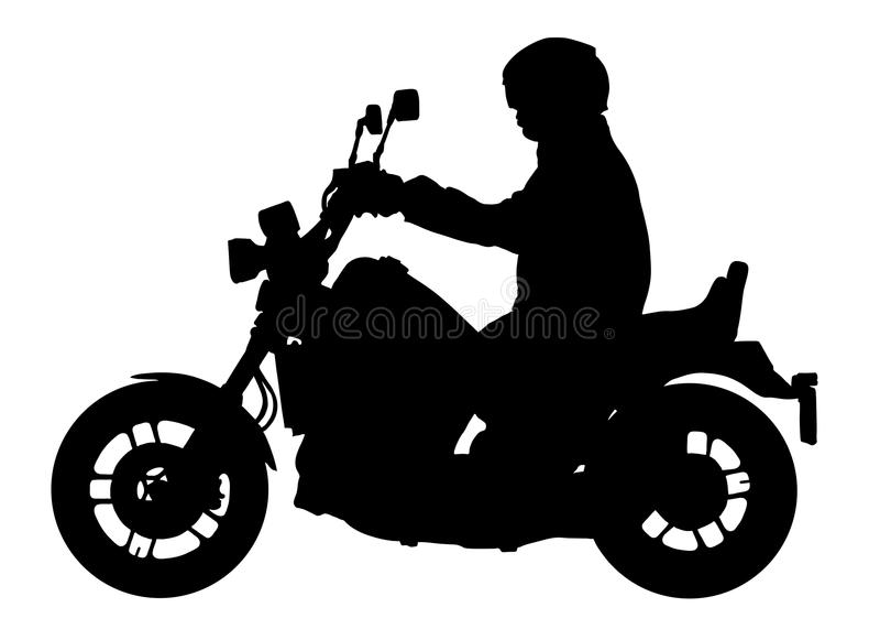 Cyklist som kör en motorcykelvektorkontur, motorcyklistillustration stock illustrationer
