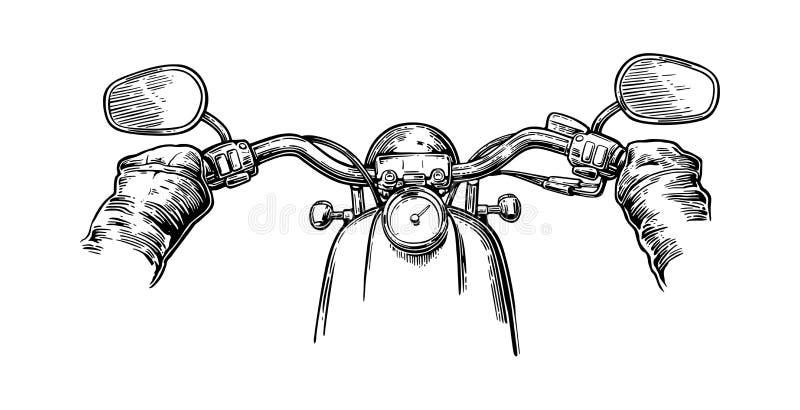Cyklist som kör motorcykelritter Första-personen beskådar stock illustrationer