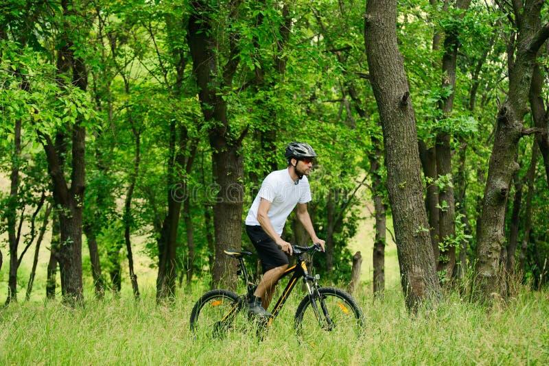 Cyklist som rider cykeln på slingan i skogen arkivbilder