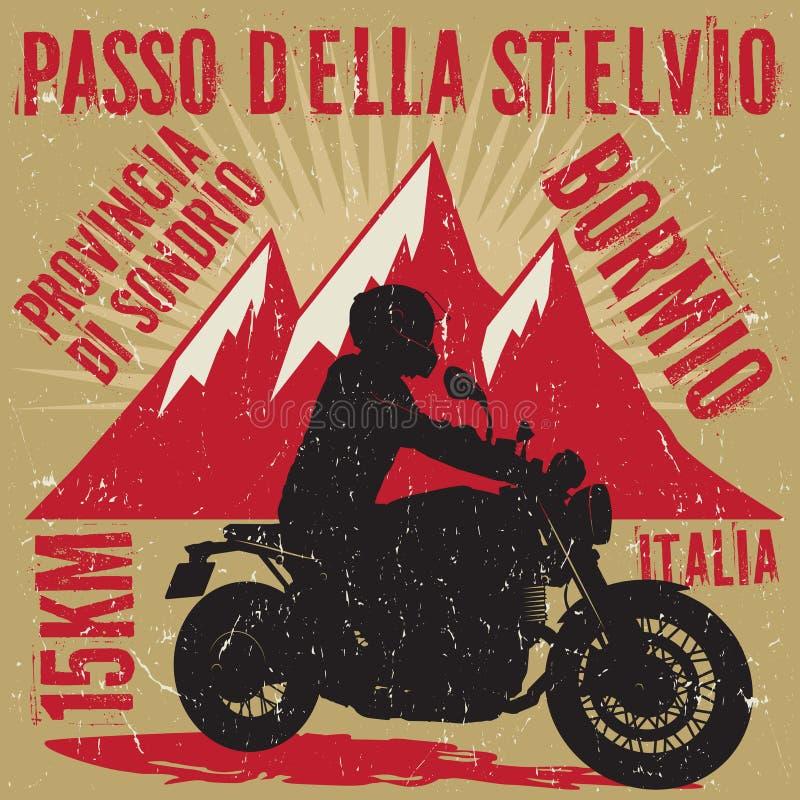 Cyklist som rider en motorcykel, affisch stock illustrationer