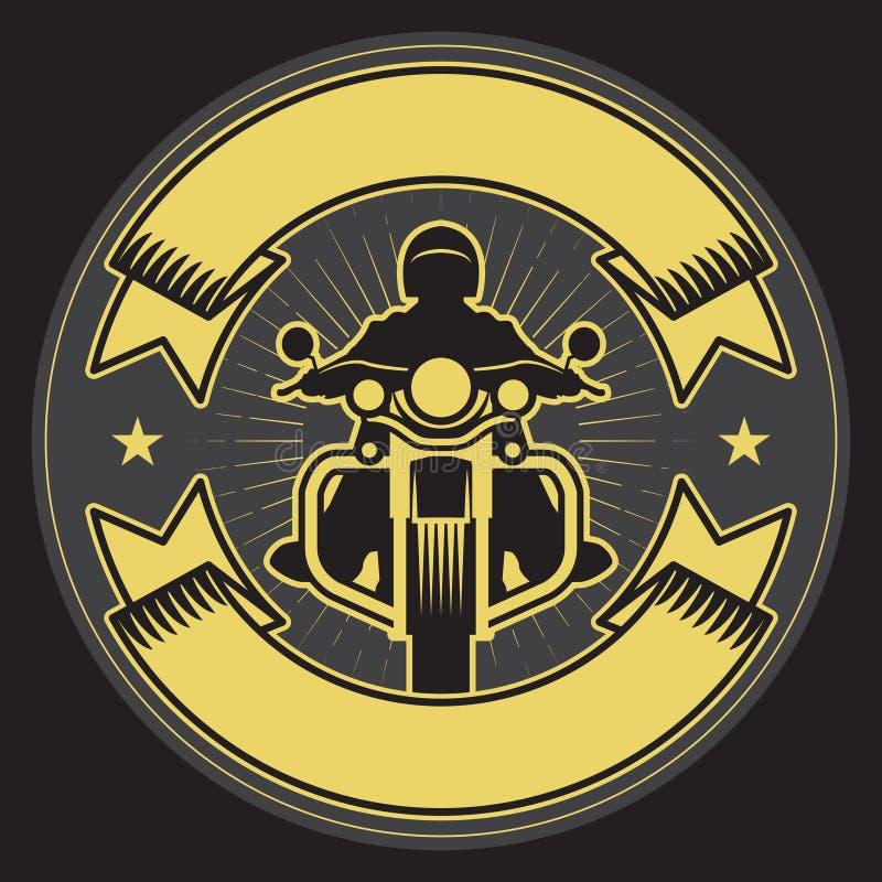 Cyklist som rider en motorcykel Cyklister händelse eller festivalemblem royaltyfri illustrationer