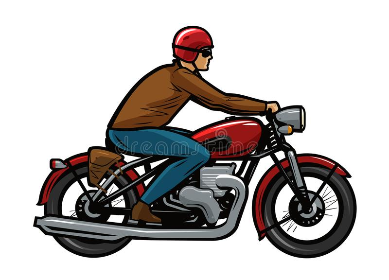 Cyklist som rider en motorcykel den främmande tecknad filmkatten flyr illustrationtakvektorn royaltyfri illustrationer
