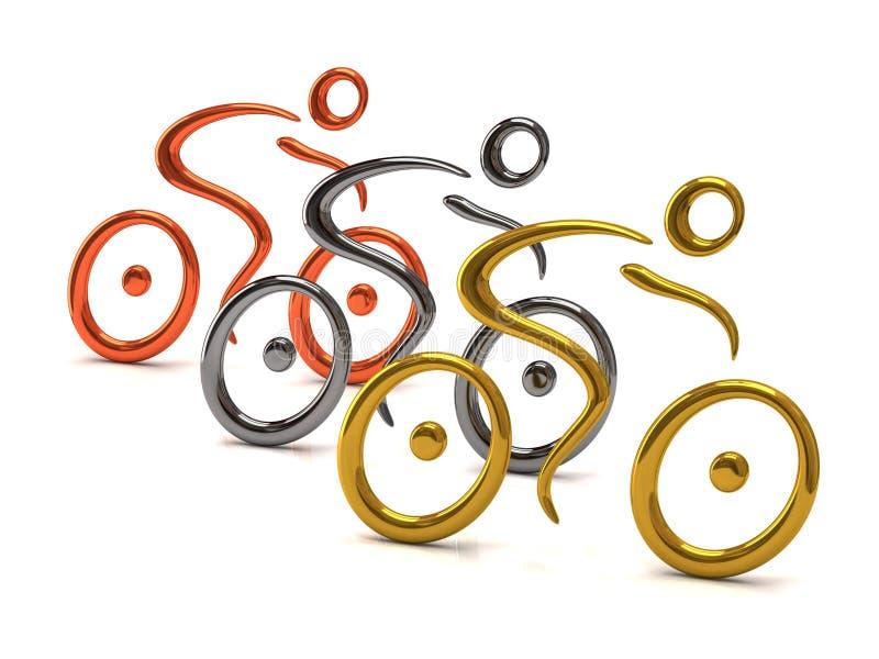 Cyklist tre royaltyfri illustrationer