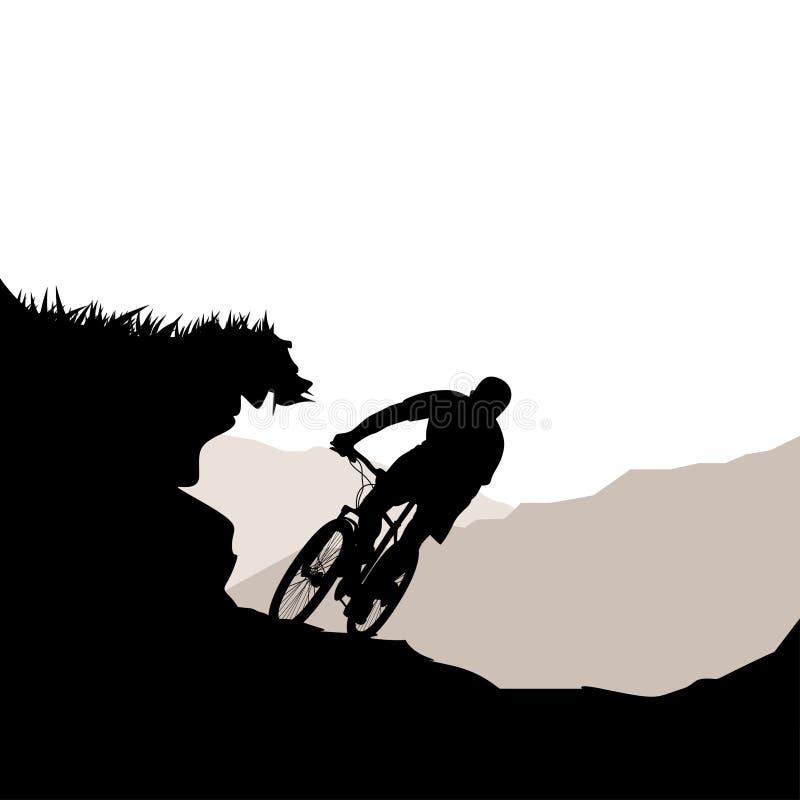Cyklista jazdy puszka wzgórze royalty ilustracja