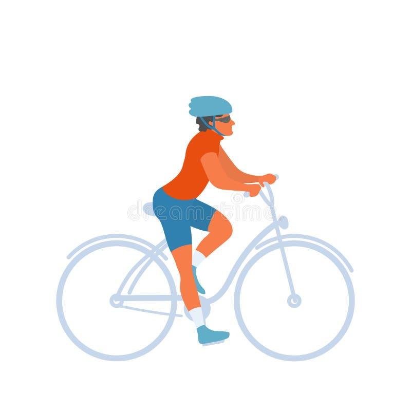Cyklista jazdy rower z zbawczym hełmem dalej royalty ilustracja