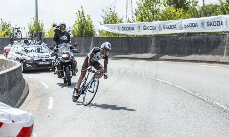 Cyklista Jean Christophe Peraud - tour de france 2014 zdjęcia royalty free