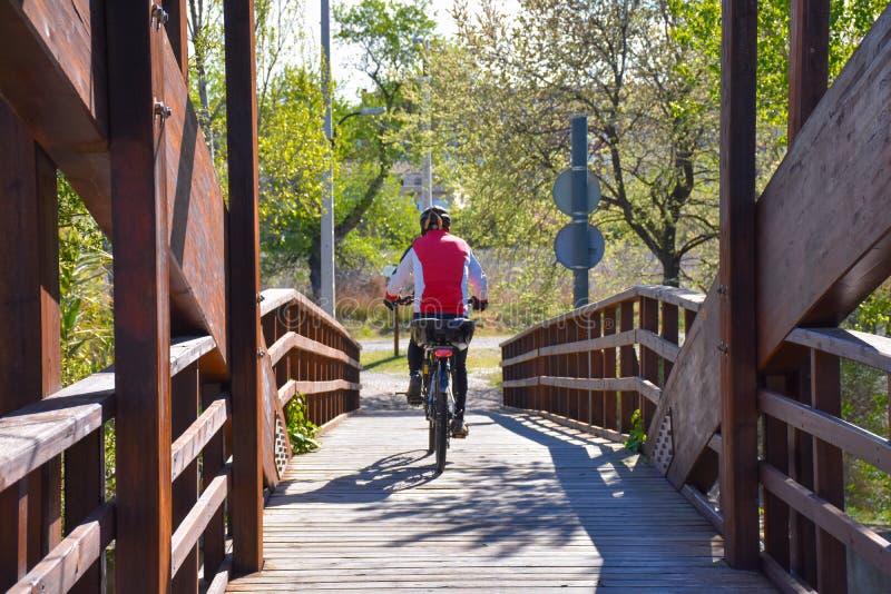 cyklista jedzie jego rower górskiego krzyżuje drewnianego brązu most w słonecznym dniu z hełmem Jeździec jest ubranym czerwień sw zdjęcia stock