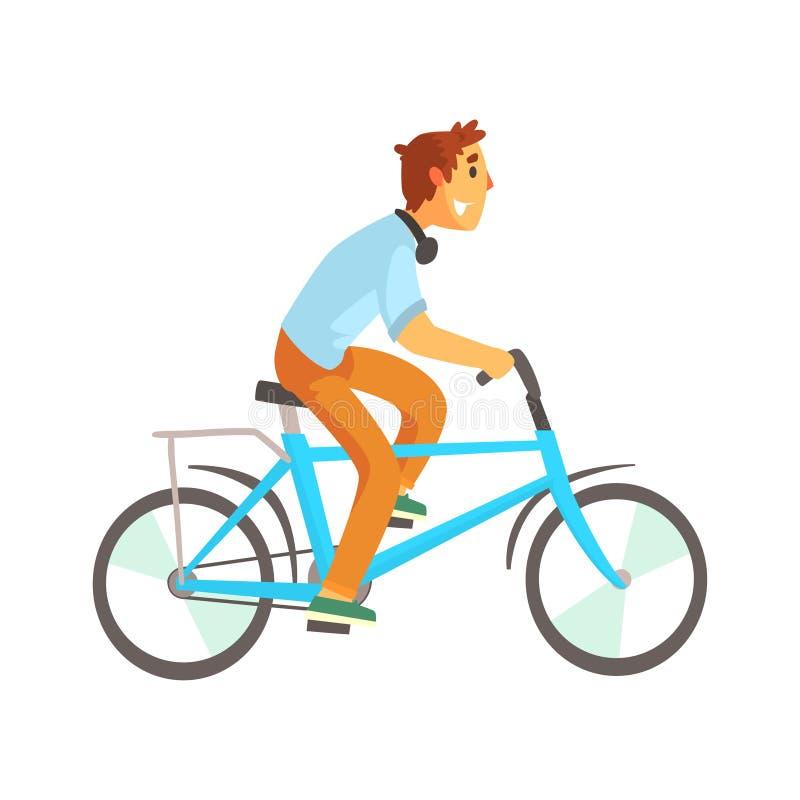 Cyklista samiec jedzie rower w przypadkowych ubraniach sporta styl życia, wektorowa ilustracja royalty ilustracja