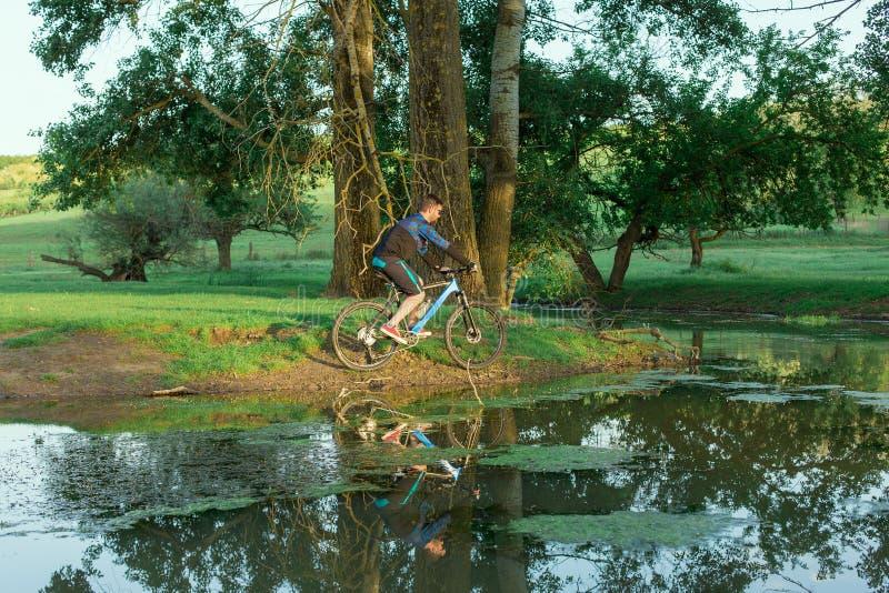 Cyklista w skrótach i bydło na nowożytnym węgla hardtail jechać na rowerze fotografia stock