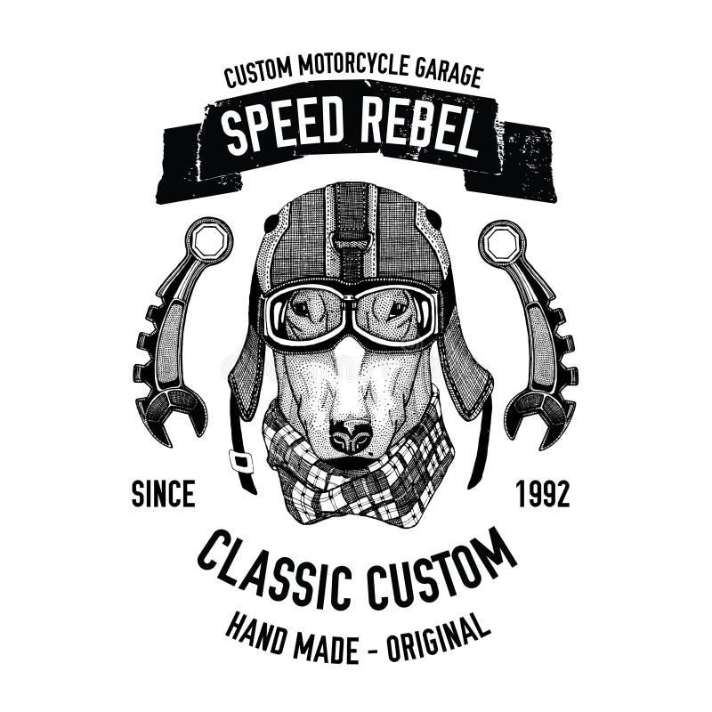 Cyklistcitationstecken med hunden för garage, service, t-skjorta, reservdelvektorbild vektor illustrationer