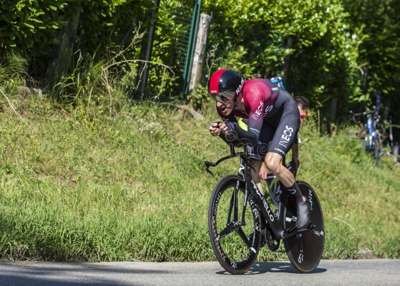 Cyklisten Geraint Thomas - Tour de France 2019 arkivfoton
