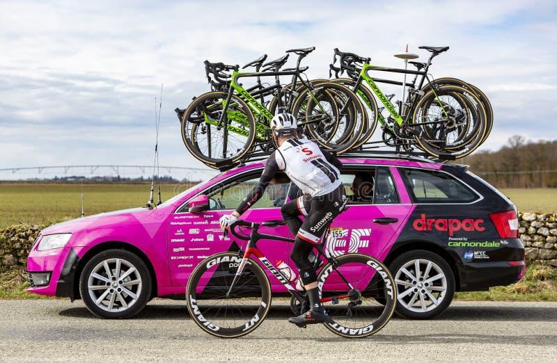 Cyklisten Mike Teunissen - Paris-Nice 2018 royaltyfri foto