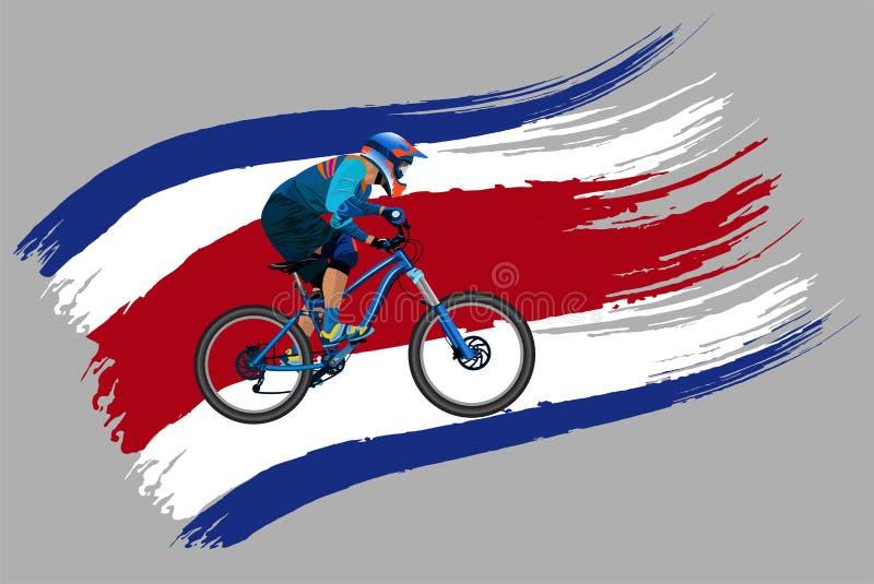Cyklisten på flaggan av Thailand fotografering för bildbyråer