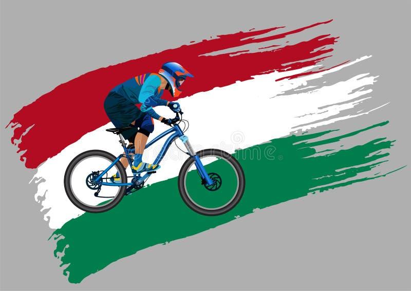 Cyklisten på flaggan av Ungern royaltyfri illustrationer