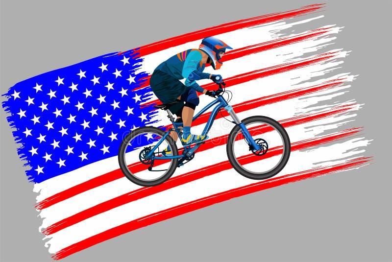 Cyklisten på flaggan av USA royaltyfri foto