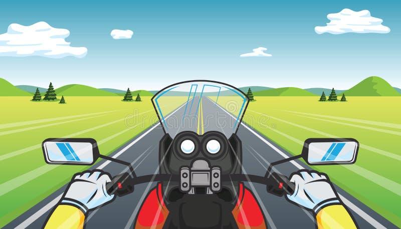 Cyklisten rider en motorcykel vektor illustrationer