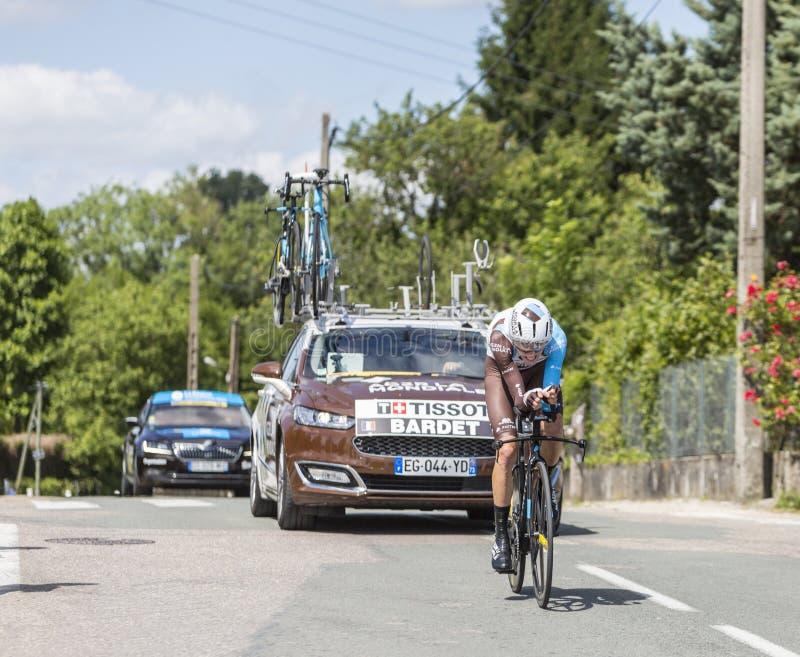 Cyklisten Romain Bardet - Kriterium du Dauphine 2017 arkivbilder