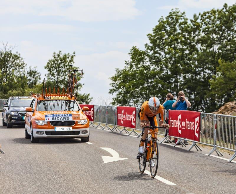 Cyklisten Romain Sicard royaltyfri fotografi
