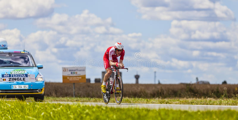 Cyklisten Romain Zingle fotografering för bildbyråer