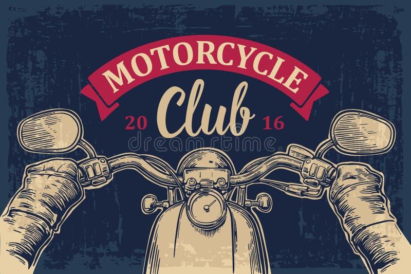 Cyklisten som kör en motorcykel, rider Blå himmel och bil stock illustrationer