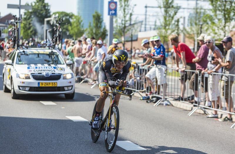Cyklisten Steve Cummings - Tour de France 2015 fotografering för bildbyråer