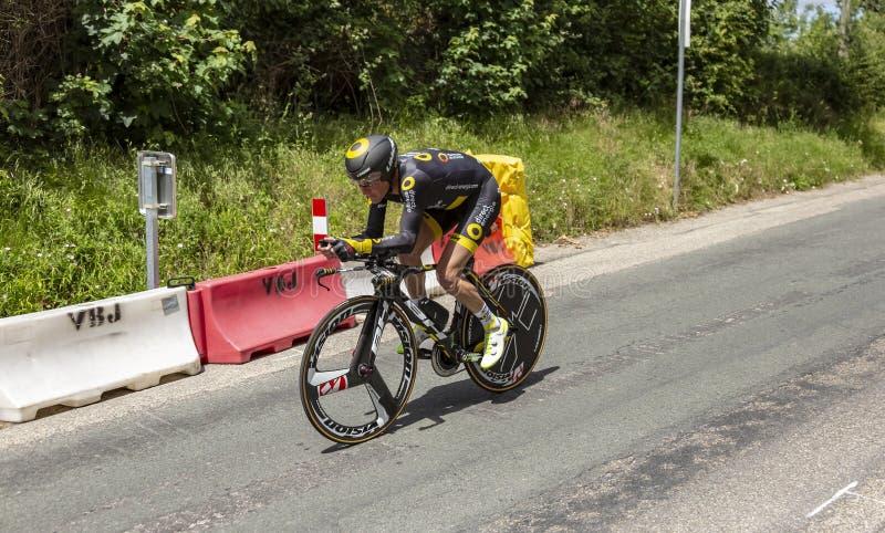 Cyklisten Thomas Voeckler - Kriterium du Dauphine 2017 royaltyfri foto