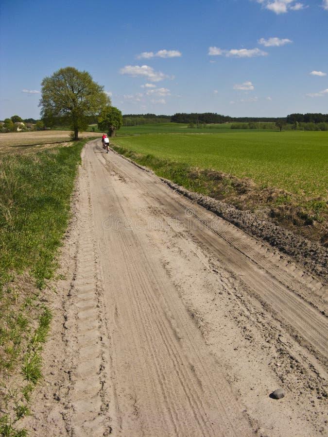 Cyklister i vår- eller sommarsmutsbana fotografering för bildbyråer