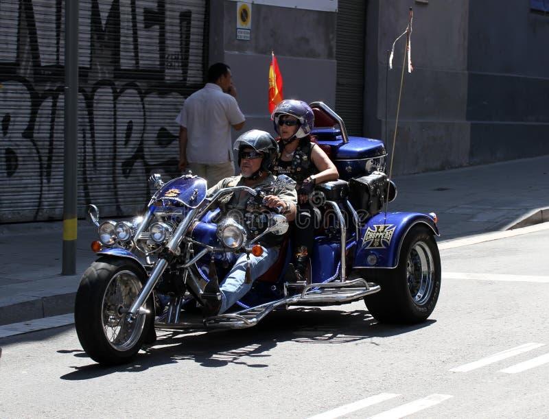 Cyklister på Barcelona Harley Days 2013 royaltyfri foto