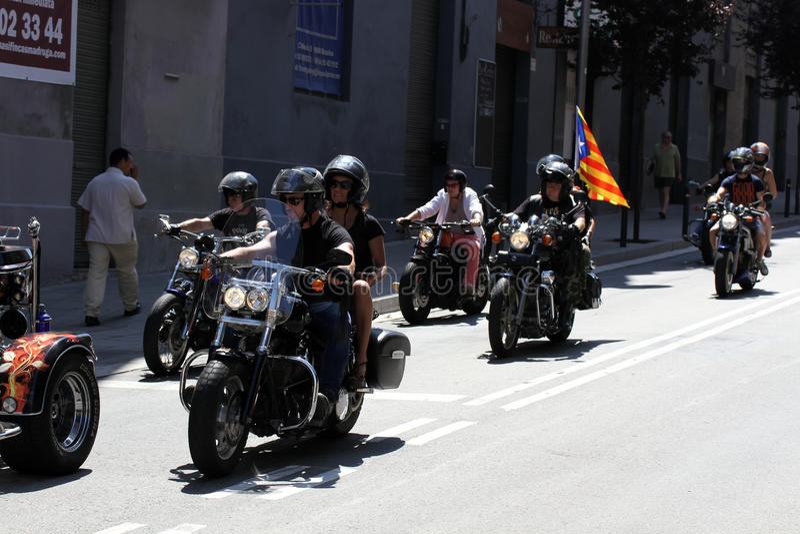 Cyklister på Barcelona Harley Days fotografering för bildbyråer