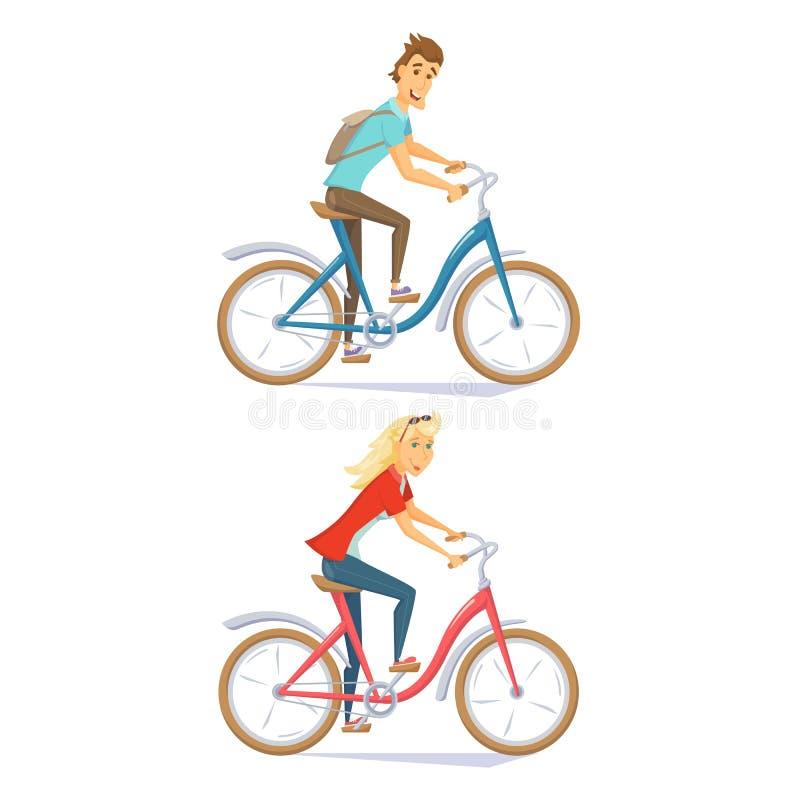 Cyklister på den stads- cykeln stock illustrationer