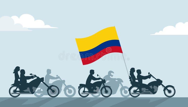 Cyklister på motorcyklar med den Colombia flaggan stock illustrationer