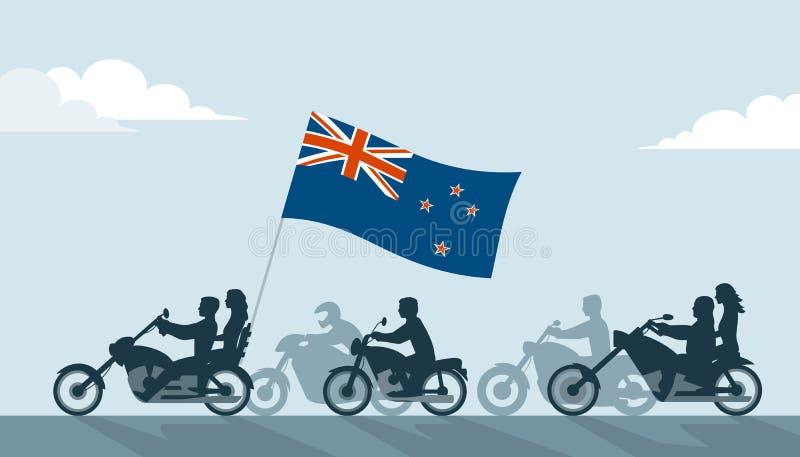 Cyklister på motorcyklar med den Nya Zeeland flaggan stock illustrationer