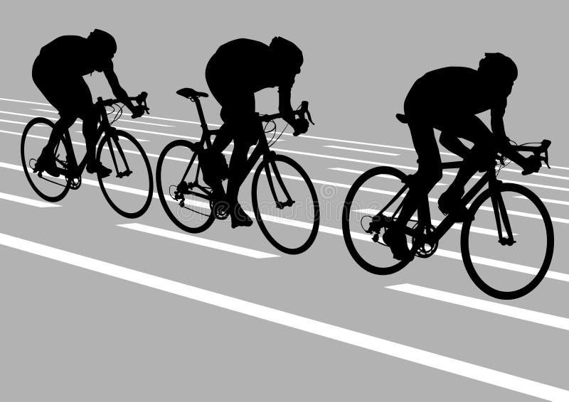 cyklister tre stock illustrationer