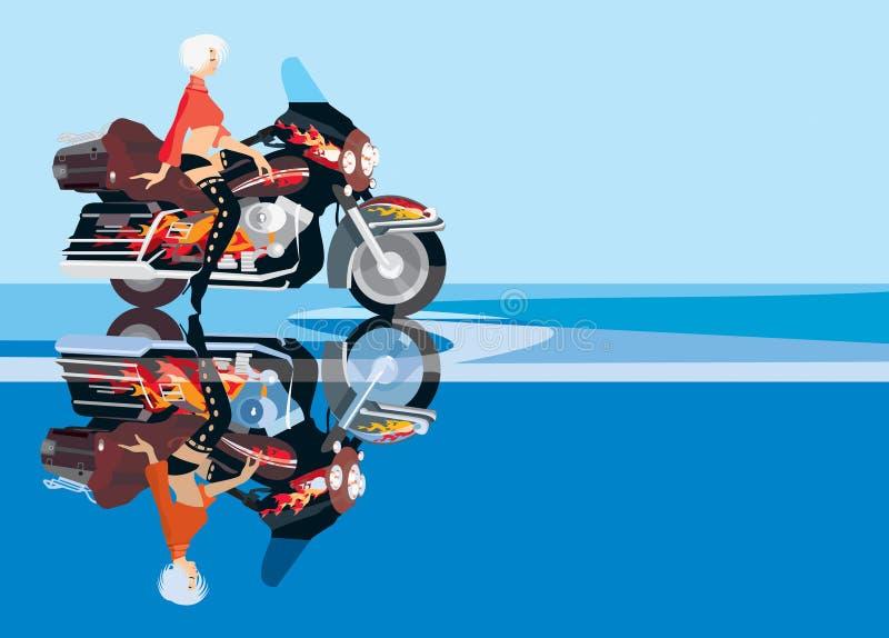 cyklistflicka vektor illustrationer