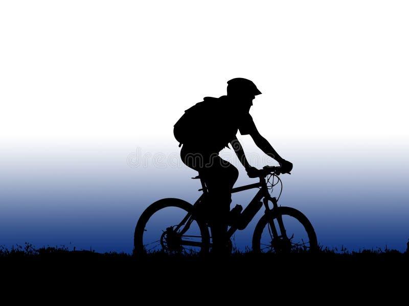 cyklistflickaberg stock illustrationer