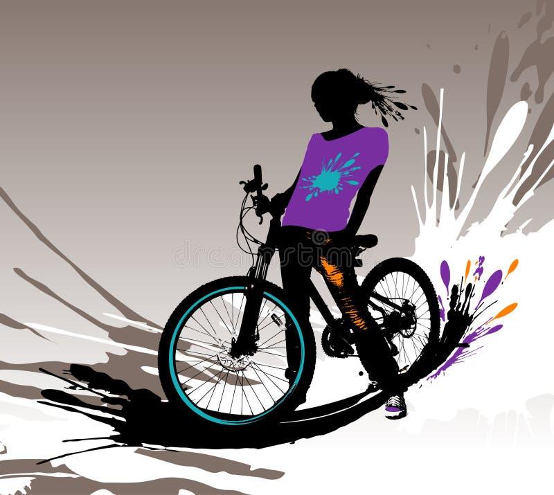 cyklistflickasilhouette stock illustrationer