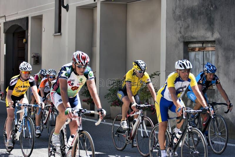 cyklistgrupppensionär royaltyfri bild